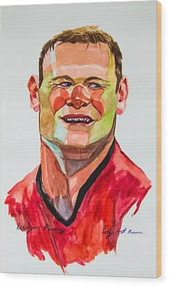 Caricature Wayne Rooney Wood Print by Ubon Shinghasin