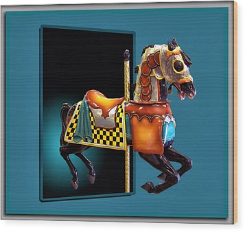 Carousel Horse Left Side Wood Print by Thomas Woolworth