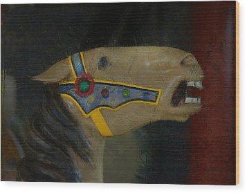 Carousel Horse Painterly 2 Wood Print by Ernie Echols