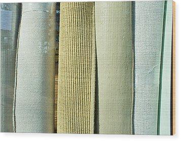 Carpet Shop Wood Print by Tom Gowanlock