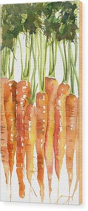 Carrot Bunch Art Blenda Studio Wood Print by Blenda Studio