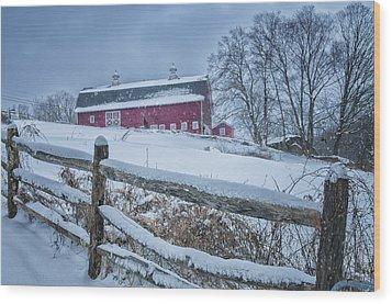 Carter Farm - Litchfield Hills Winter Scene Wood Print by Thomas Schoeller