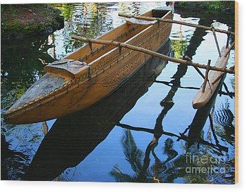 Carved Canoe Wood Print by Jennifer Apffel