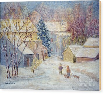 Carversville Snow Wood Print by Pamela Parsons