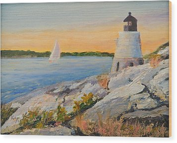 Castle Hill Light House Newport Ri Wood Print by Patty Kay Hall