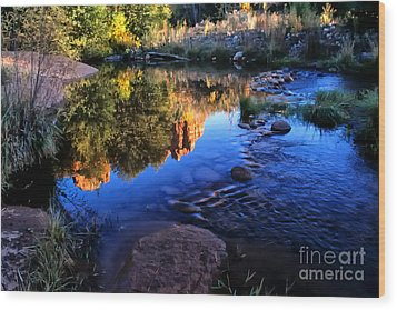 Castle Rock Reflection Wood Print by Barbara D Richards