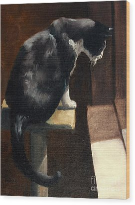 Cat At A Window With A View Wood Print by Lisa Phillips Owens