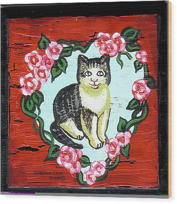 Cat In Heart Wreath 1 Wood Print by Genevieve Esson