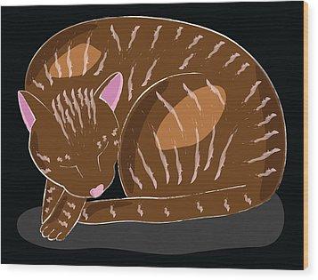 Cat Wood Print by Sara Ponte
