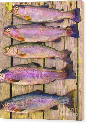 Catch Of The Day - Painterly - V1 Wood Print by Wingsdomain Art and Photography