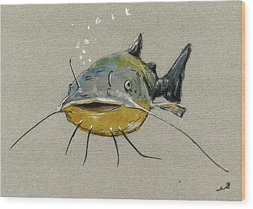 Catfish Wood Print by Juan  Bosco