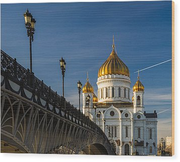Cathedral Of Christ The Savior In Moscow - Featured 3 Wood Print by Alexander Senin