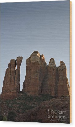 Cathedral Rock Spires Wood Print by Dave Gordon