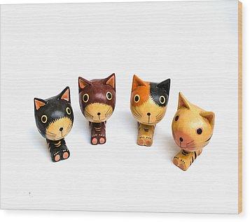Cats Doll Wood Print by Suntasit Fhakthap