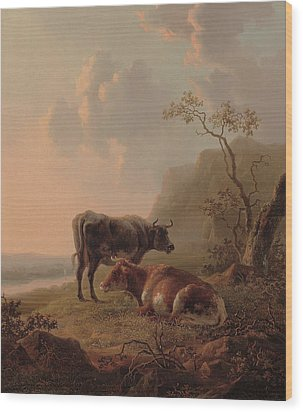Cattle In An Italianate Landscape Wood Print by Jacob van Strij