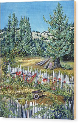 Cazadero Farm And Flowers Wood Print by Asha Carolyn Young