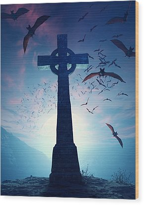 Celtic Cross With Swarm Of Bats Wood Print by Johan Swanepoel