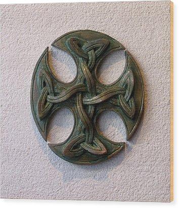 Celticross 1 Wood Print by Flow Fitzgerald