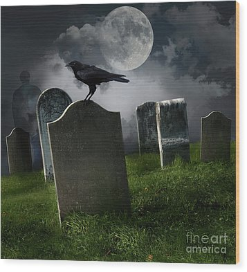 Cemetery With Old Gravestones And Moon Wood Print by Sandra Cunningham
