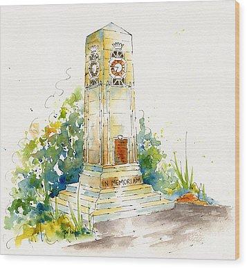 Cenotaph Clock Tower Wood Print by Pat Katz