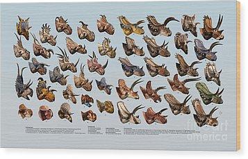 Ceratopsian Cornucopia Wood Print by Julius Csotonyi