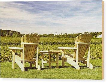 Chairs Overlooking Vineyard Wood Print by Elena Elisseeva