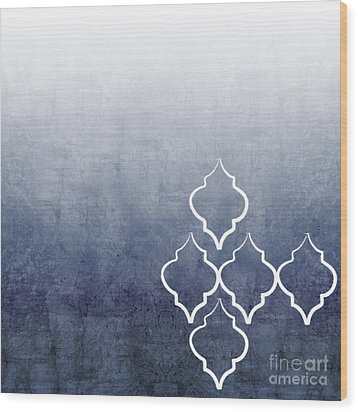 Chambray Ombre Wood Print by Linda Woods