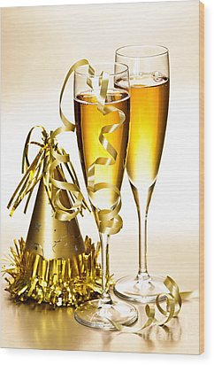 Champagne And New Years Party Decorations Wood Print by Elena Elisseeva
