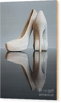 Champagne Stiletto Shoes Wood Print by Terri Waters