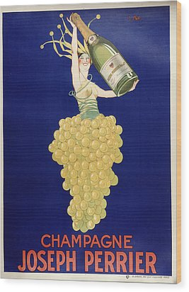 Champagne Wood Print by Vintage Images
