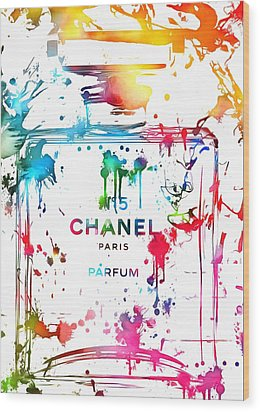Chanel Number Five Paint Splatter Wood Print by Dan Sproul