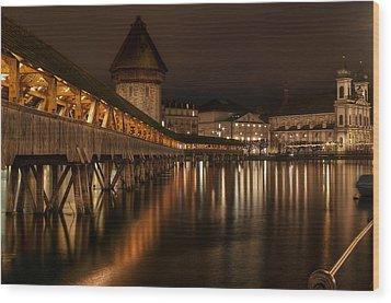 Chapel Bridge Lucerne Wood Print by Caroline Pirskanen