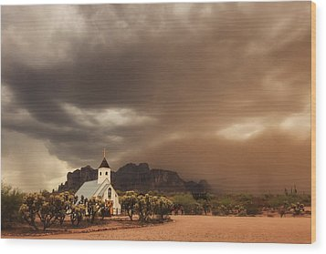 Chapel In The Storm Wood Print by Rick Furmanek