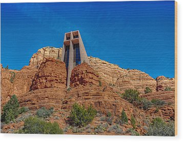 Chapel Of The Holy Cross Sedona Az Front Wood Print by Scott Campbell