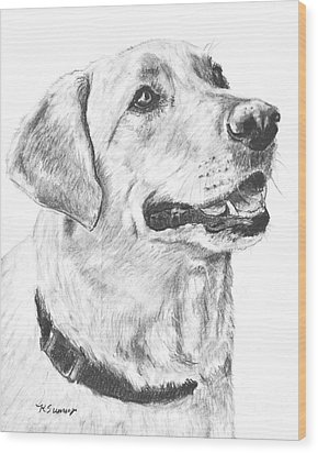 Charcoal Drawing Yellow Lab In Profile Wood Print by Kate Sumners