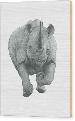 Charging Rhino Wood Print by Rich Colvin
