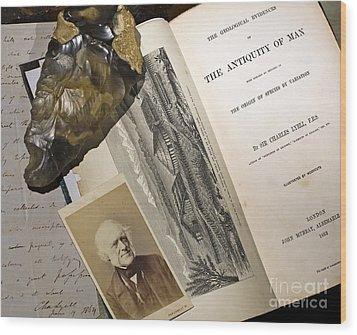 Charles Lyells Antiquity Of Man 1863 Wood Print by Paul D Stewart