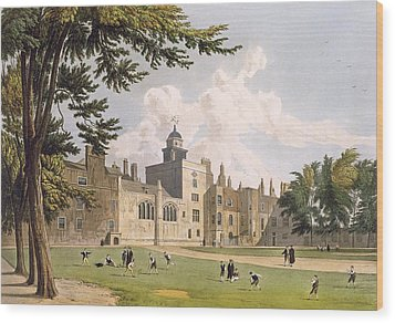 Charter House From The Play Ground Wood Print by William Westall