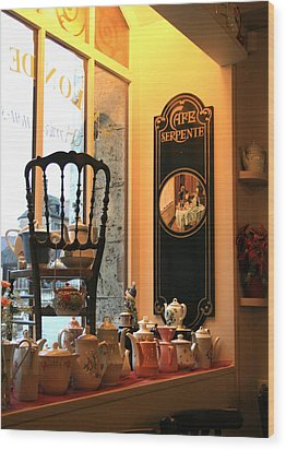 Chartres Cafe Wood Print by A Morddel