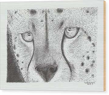 Cheetah Face Wood Print by Todd Hodgins