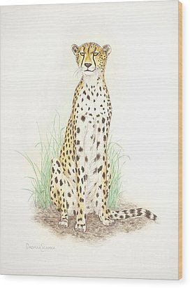 Cheetah On Lookout Wood Print by Dag Sla