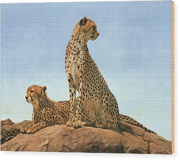 Cheetahs Wood Print by David Stribbling