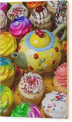 Cherry Teapot And Cupcakes Wood Print by Garry Gay