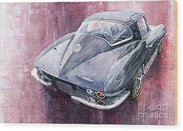 Chevrolet Corvette Sting Ray 1965 Wood Print by Yuriy  Shevchuk