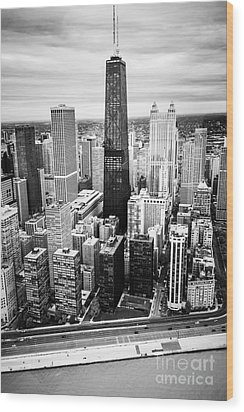 Chicago Aerial With Hancock Building In Black And White Wood Print by Paul Velgos