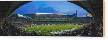 Chicago Bears At Soldier Field Wood Print by Steve Gadomski