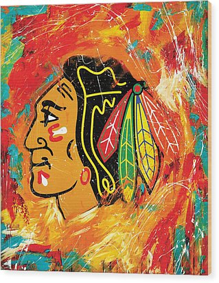 Chicago Blackhawks Logo Wood Print by Elliott From