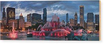 Chicago Blackhawks Skyline Wood Print by Jeff Lewis