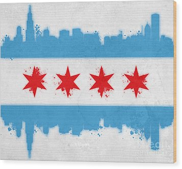 Chicago Flag Wood Print by Mike Maher