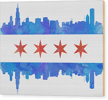 Chicago Flag Watercolor Wood Print by Mike Maher